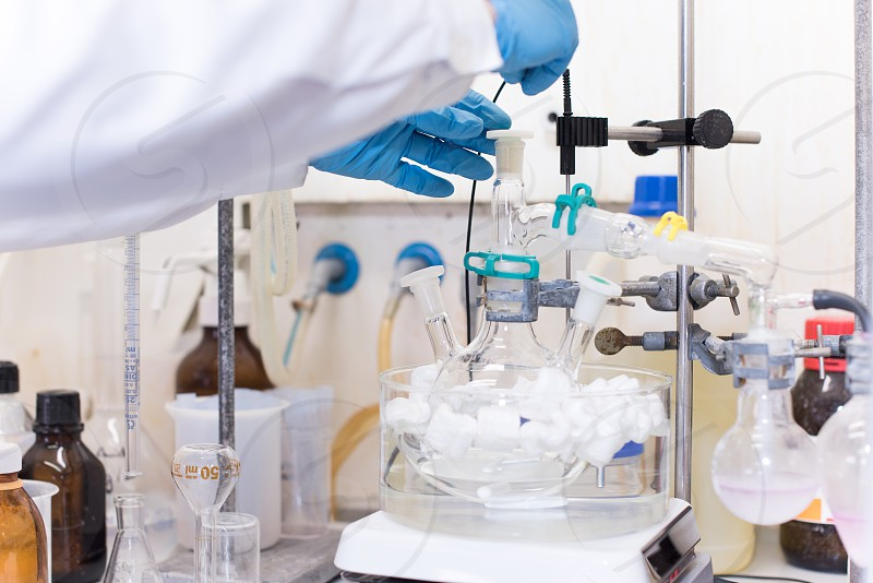 Chemical scientist working in modern biological laboratory photo