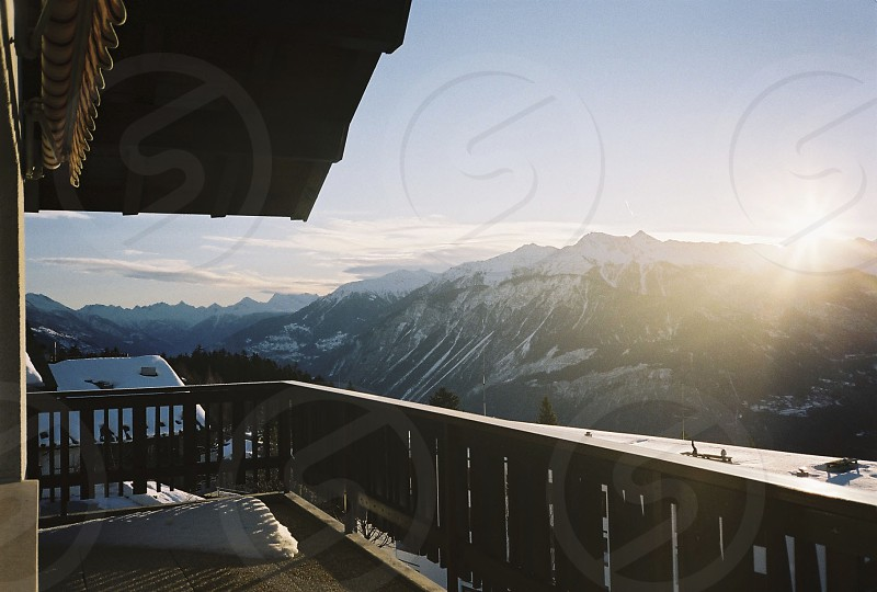 switzerland mountains morning view snow photo