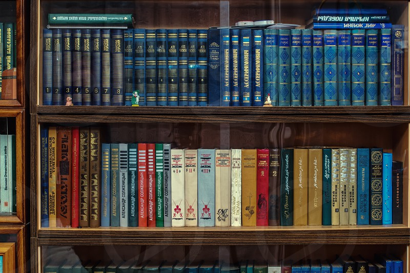 book lot on brown wooden book shelves photo