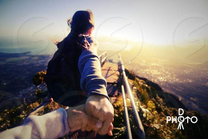 My girlfriend leading me down a very dangerous hike in Oahu Hawaii the Stairway to Heaven photo