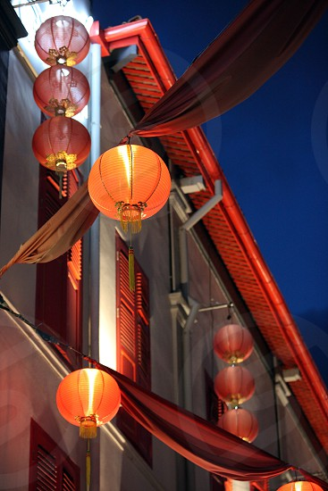 a traditional chinese lamp in china town in the city of Singapore in Southeastasia. photo