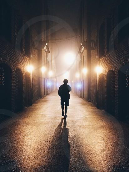 Symmetrical Alley on a Foggy Night photo