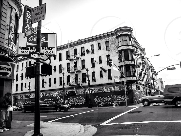 grayscale photography of buildings photo
