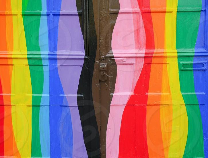 Colorful garage door in San Francisco Castro district rainbow mural  photo
