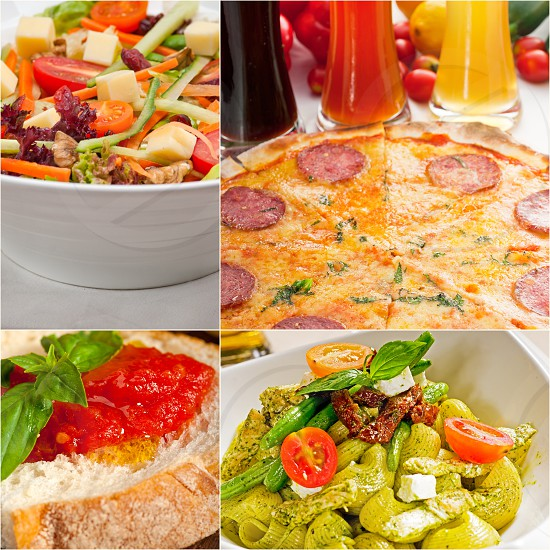 healthy Vegetarian vegan food collage nested on white frame photo