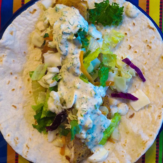 Fish tacos Mexican food healthy spicy sauce meal lunch dinner homemade food photo