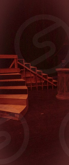 Stage design. Bridge. Stairs. Spiral. Musical theatre stage. Set. Play. photo