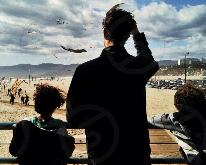 beach kites clouds summer boys photo