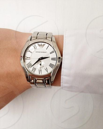 silver link white emporio armani analog watch photo