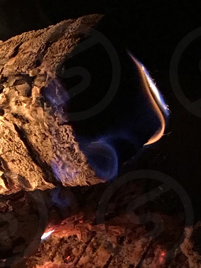 wood on fire photo