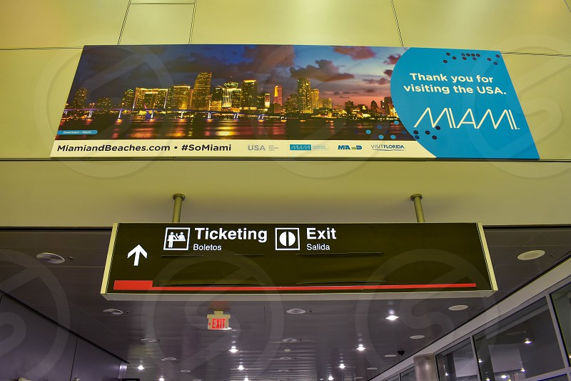 Miami Florida. January 05 2019.  Miami Beaches sign and Ticketing sign at Miami International Airport . photo