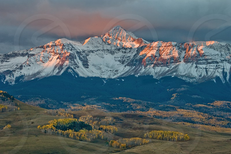 14000; 14ers; autumn; cloudless colorful; colorado; colorful; feet; foot; forests; fourteeners; inspiring; last dollar road; mount wilson telluride last dollar road; mt.; peaks; rocky; telluride; inspirational looming aspen autumn snow photo
