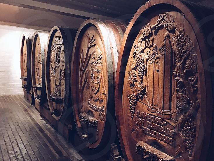 Vineyard winery barrels barrel ornamented wooden vine  photo