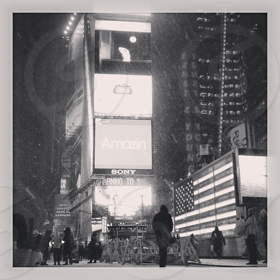 Black and White Times Square in winter photo