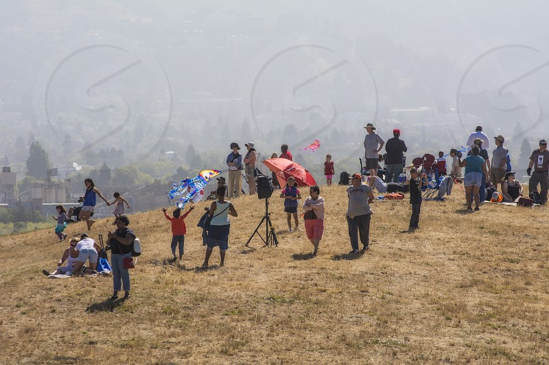 People On Hill At Berkeley Kite Festival July 2014 photo