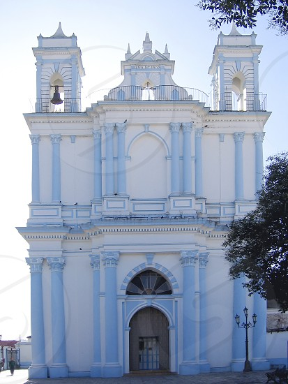 blue church San Cristobal de las Casas Chiapas Mexico photo