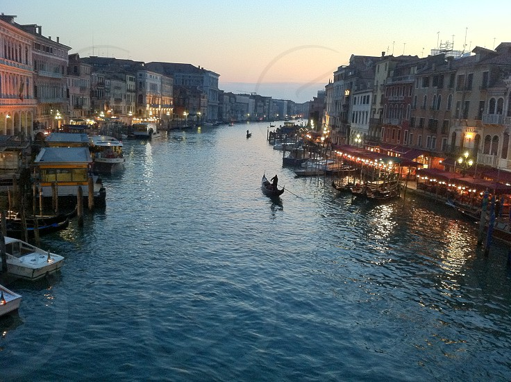 Gondolas at Sunset Canal Grande (The Grand Canal) Venice Italy photo