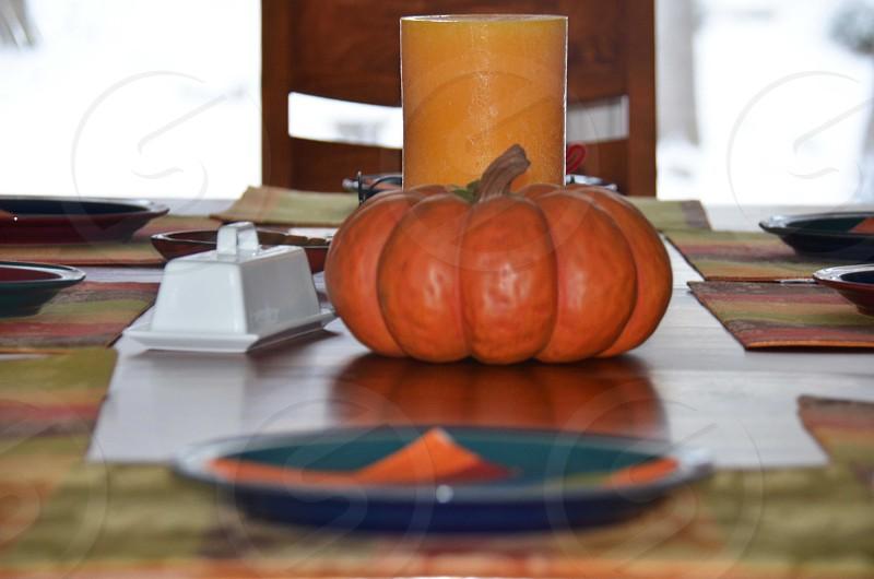 orange pumpkin on table photo