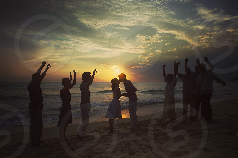 Happiness beach wedding smile sunrise photo