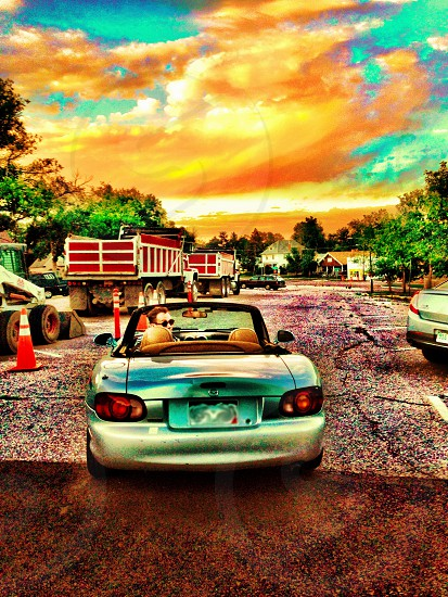 miata car convertible sky sunset cross-processed photo