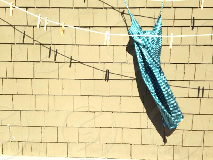 teal spaghetti strap dress photo