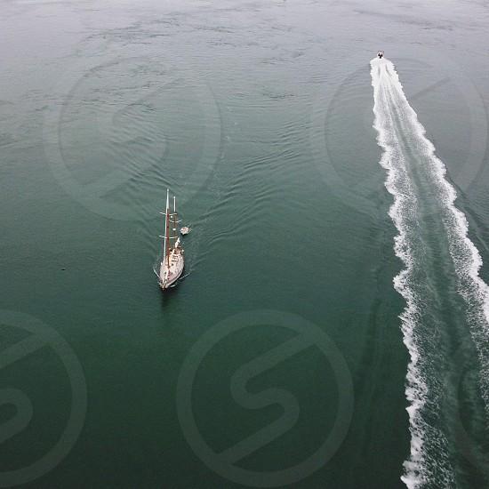 sailing boat aerial photography photo