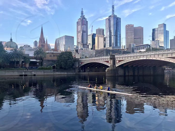 Watersport in front of the downtown Melbourne skyline photo