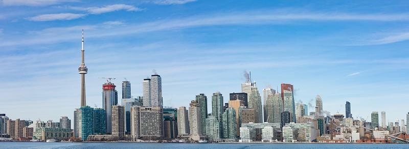 Hires skyline panorama of Toronto downtown city Ontario ON Canada photo