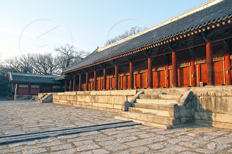 Jongmyo shrine -park in central Seoul South Korea. photo