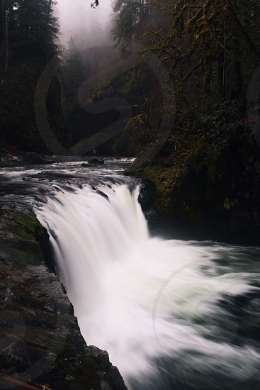 water falls and green trees photograph photo