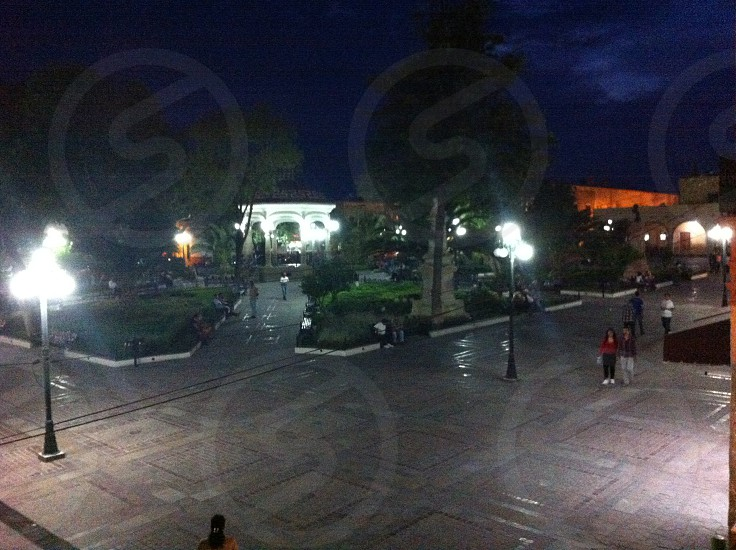 At night ( small town square )  photo