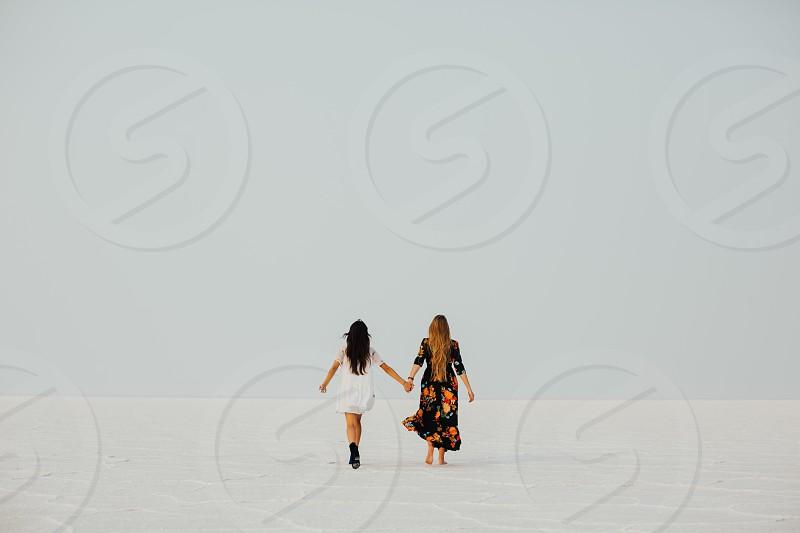 Woman hands walking hipster fashion photo