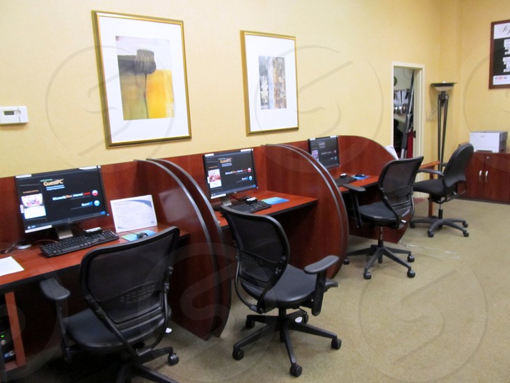 Hotel business center with four stations and copier photo