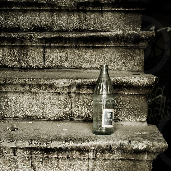 Bottle on Stairs Abandoned  Meat Packing Factory Halle Germany photo