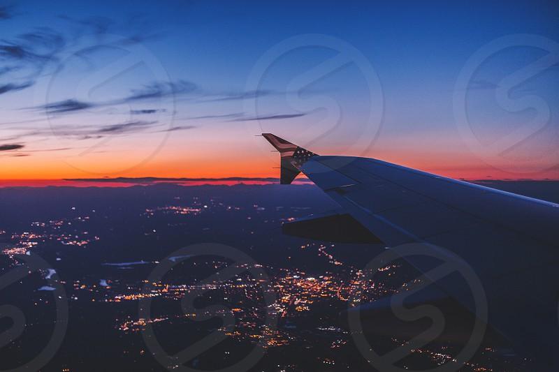 Virgin America Flight Sunset photo