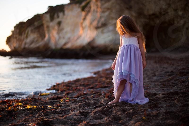 Beach sunset nature kids kid child flower girl girl hair  photo