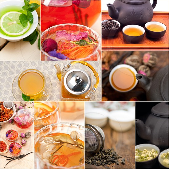collection of different herbal tea infusion collage white frame  photo