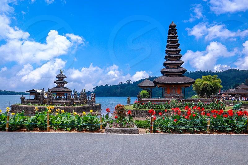 Ulun Danu Temple at Beratan Lake Bedugul Bali Indonesia photo