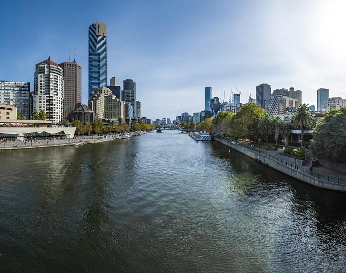 Lovely Melbourne CBD Panoramic Photo at Sunset photo