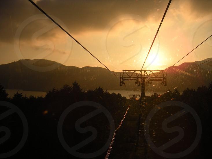 View from Hakone sky tram at sunset. In Hakone Japan photo