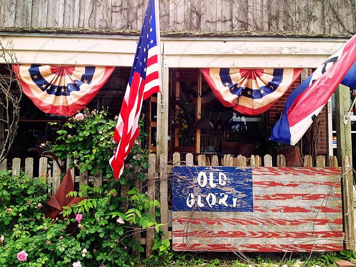 Old Glory U.S. flag bunting patriotic vintage flag red white & blue photo