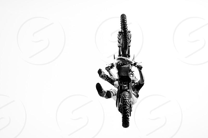 Motorcycle dirt jump FMX freestyle whitebackground style  photo