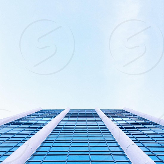 blue glass high rise building photo