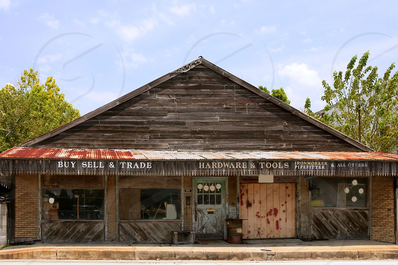 Aged vintage grunge wooden american Texas store photo