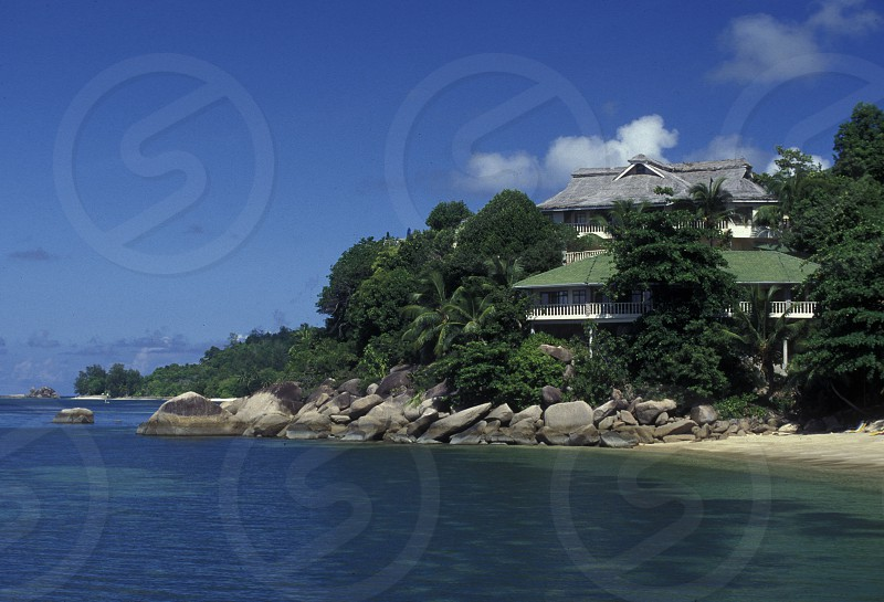 a hotel on the Island Praslin of the seychelles islands in the indian ocean photo