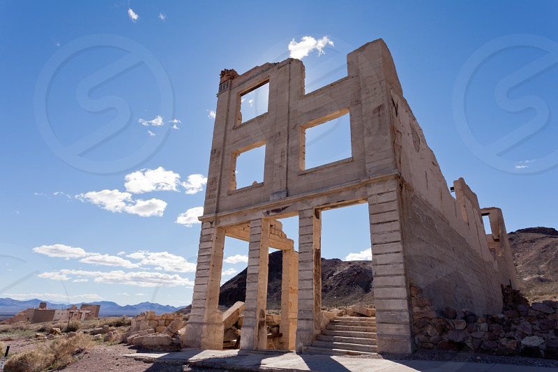 Bank building ruins in Rhyolite Nevada USA ghost town in Mojave Desert near Death Valley National Park photo