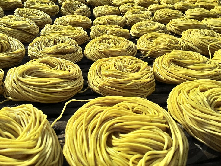 Dried noodles in rows photo