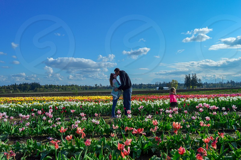 man in black long sleeve shirt kissing a woman in teal shirt surrounded by flower field under white clouds and blue sky photo