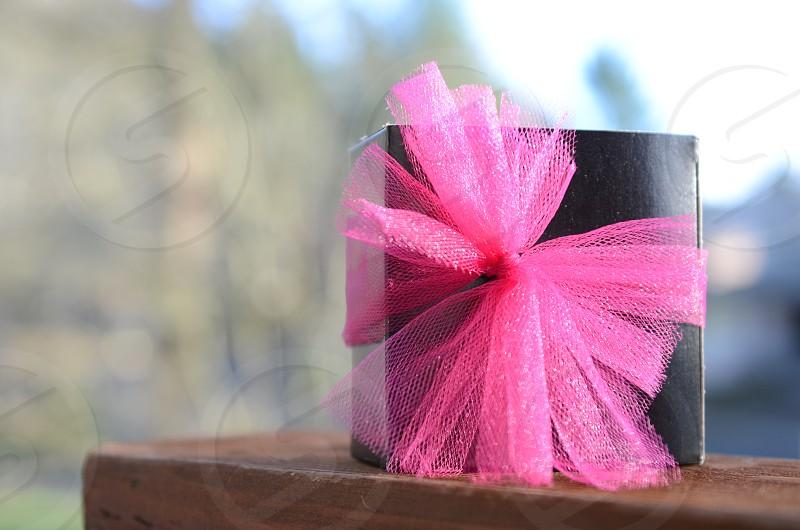 Gift present holiday Christmas birthday valentines anniversary thank you black box pink ribbon photo