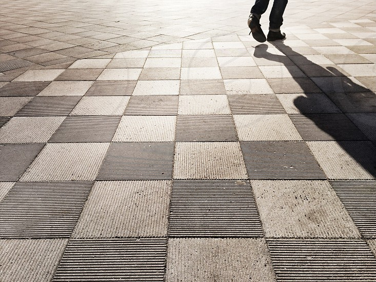 Grey and White Checkered Floor photo